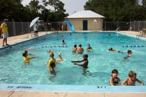 Andrew Johnson Recreation Center, view of children playing in pool