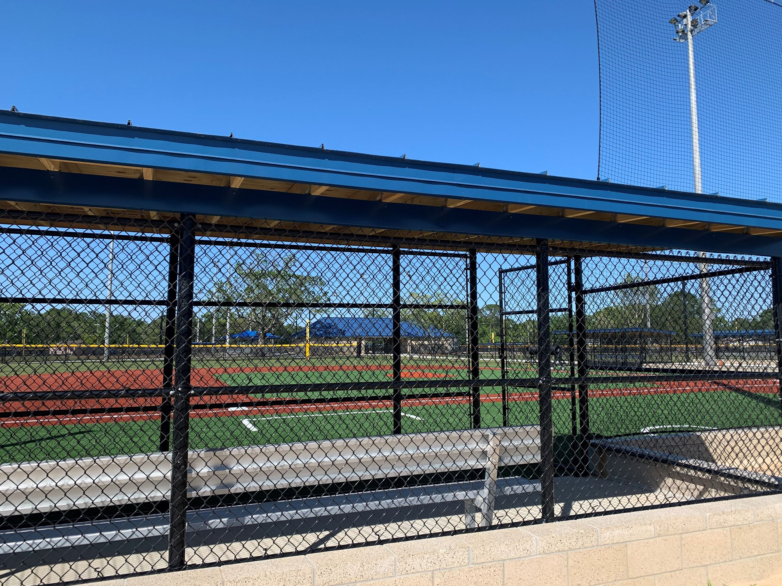 Dugout to turf field
