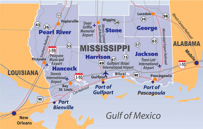 Pascagoula Road Map