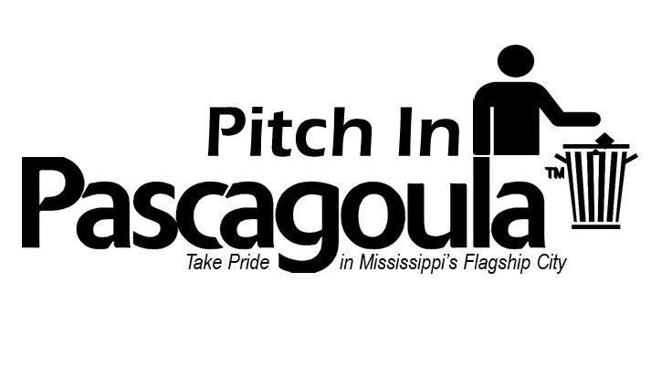 Stick figured man throwing garbage in a can  with the word Pitch In Pascagoula around him